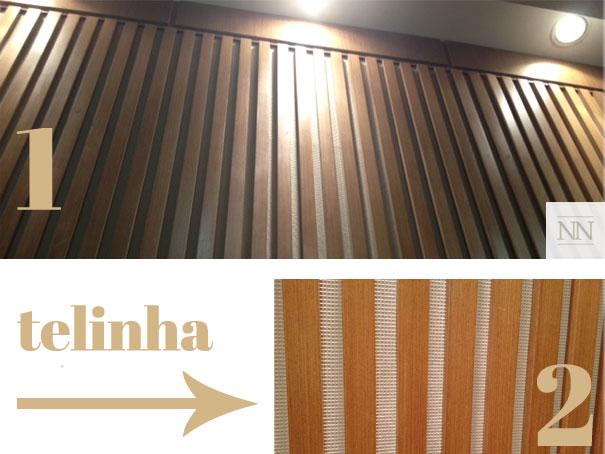 (Fonte:natalianoleto.com.br; 1- Painel com ripas de madeira no teatro; 2 - Detalhe das ripas com telinha para auxiliar no isolamento do som)