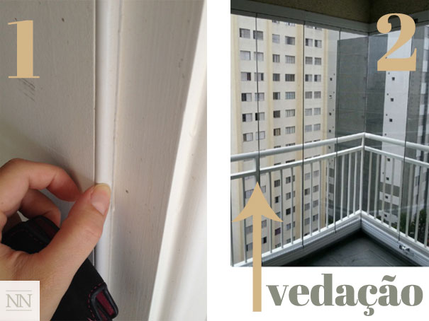"""(Fonte:natalianoleto.com.br; 1 Obra que visitei em São Paulo- Borracha instalada no portal para isolamento do som dentro do ambiente; 2- Fechamento de varanda. Entre as folhas de correr tem tipo uma """"vassourinha"""" que isola muito bem o som! Gostei do resultado quando verifiquei a instalação.)"""