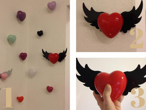 (Fotos:natalianoleto.com.br; 1- Várias cores, tamanhos e modelos fixados na parede; 2 - Cabide em forma de coração com asa; 3- Tirei uma foto para ter escala humana)