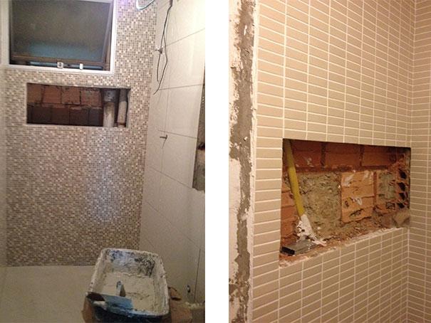 obra  Natália Noleto  Arquitetura e Interiores # Nicho Alvenaria Banheiro